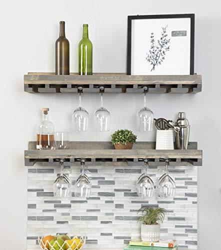 Rustic Wooden Wall Mounted Handmade Tiered Wine Glass Racks (Grey, 36 Inch)