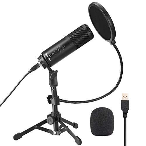 Koolertron Micrófono Condensador, 96KHZ/24BIT USB Micrófono para PC Profesional,Podcast Microfono con Ajustable Trípode Soporte Double-Layer Filtro Pop para Grabación Vocal,Grabación de Estudio