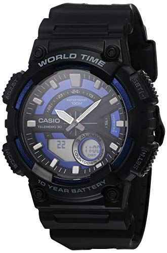 Casio Correa de resina de cuarzo de 10 años para hombre, negro, reloj casual 29.4 (Modelo: AEQ-110W-2A2VCF)