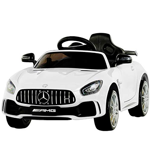 Uenjoy Electric Kids Ride On Car Mercedes Benz AMG GTR Motorized Vehicles with Remote Control, Battery Powered, LED Lights, Wheel Suspension, Music, Horn, TF Card, USB Port, Portable Handle, White
