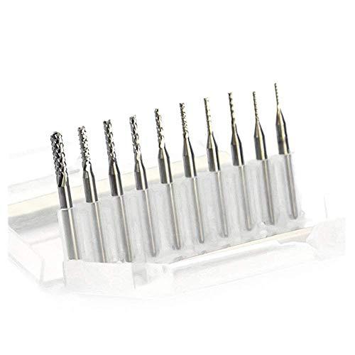 DONDOW 3,175 mm volfram stål Gravyr Machine Cutter Kniv Board PCB Öppning Silver Bark Corn Milling 10st Skärverktyg (Storlek: 10st 1.2mm)