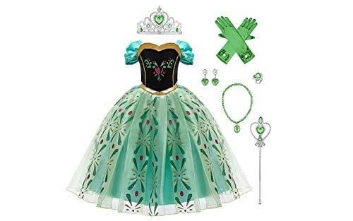 Kinder Mädchen Anna Kostüm Glanz Kleid mit Zubehör Halloween Cosplay Eiskönigin Schneeflocke Grün Maxikleid Prinzessin Karneval Fasching Verkleidung Eisprinzessin Weihnachten Festkleid 5-6 Jahre
