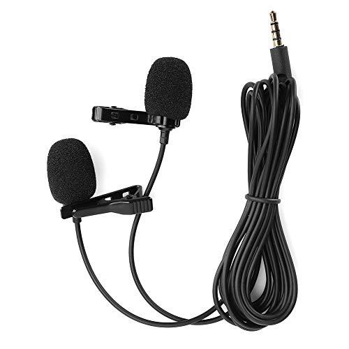 Microfono lavalier,Doppio Microfono Tie-Clip Telefono Tascabile Mini Registrazione Karaoke Telefono Cellulare Microfono Piccolo per Rsterno/Interno, per Telefoni Cellulari,Macchine Fotografiche