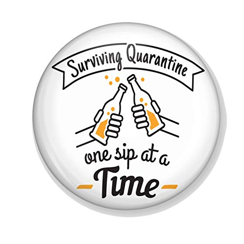 Gifts & Gadgets Co. Surviving Quarantaine One Sip At A Time Miroir de maquillage rond 58 mm