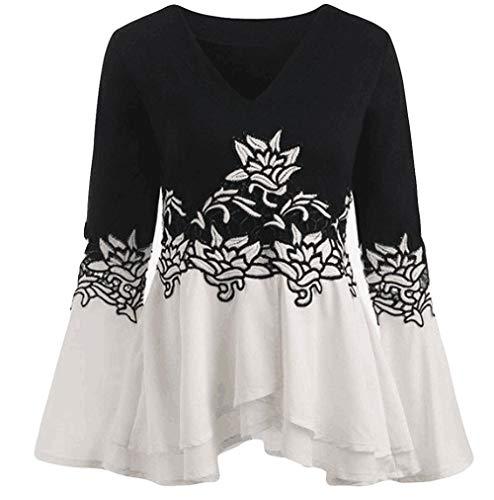 OSYARD Damen Sweatshirt Oberseiten,Lose Blumendruck Aufflackern-Hülse Große Größe Shirt, Mode Frauen V-Ausschnitt Gedruckt Flare Sleeve Langarm Tops Blusen Schlüsselloch T-Shirts(5XL, Z-1 Schwarz)