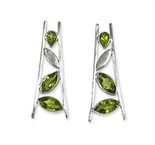 Schmuck Ohrhänger Falling Leaves L 34mm, 925 Sterling Silber mit Edelstein Peridot grün Olivin, Ohrringe Blätter Blatt
