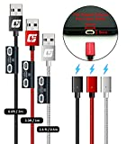 CinchForce Flat Magnetic 3-in-1 Data/Charging Cable with Flat Magnetic Adapters and Tip Storage Holder, Compatible with Type-C, iProduct, Micro-USB, Updated for 2021-3 Pack (6.6ft/3.3ft/1.6ft)