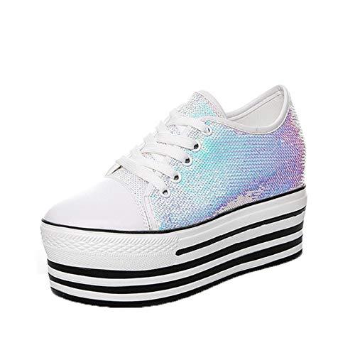 Zapatos de Plataforma para Mujer Patrón de Lentejuelas para Uso Diario Suela Gruesa Usable Cómodo Zapatos con Cordones Creepers Caminata Diaria