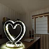Crystal Table Lamp Silver Stainless Steel Deco, Decorative Plug-in Bedside Nightstand Desk Lamp Lighting Fixture for Wedding Bedroom, Living Room, Dining Room (Heart White)