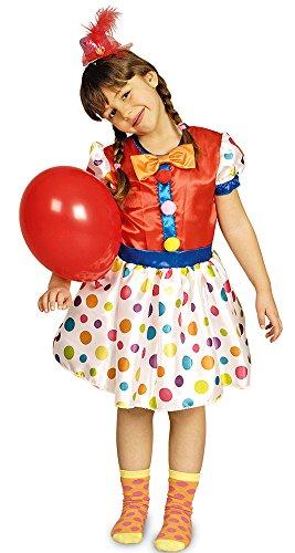 Das Kostümland Clown Pünktchen Kostüm für Kinder Gr. 98 104 - Schönes Kostüm für Mädchen zu Karneval, Manege, Zirkus, Kindergeburtstag oder Mottoparty