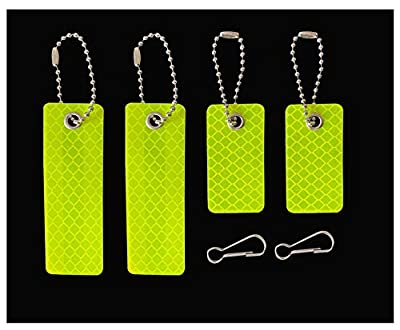 jujupups 4 pcs Reflective Tags Safety Reflector - Stylish Reflective Gear for pet, Jackets, Bags, Purses, Backpacks, Strollers and Wheelchairs (Fluor Yellow)
