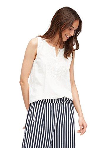 TOM TAILOR Damen Trendy Blusentop mit V-Ausschnitt und Stickereidetails Bluse, Elfenbein (Whisper White 8210), Small (36)