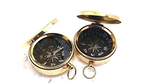 Nautical.Gift.Decor Boussole de Poche en Laiton Massif 5,1 cm Boussole gravée Boussole de Travail personnalisée Boussole Antique