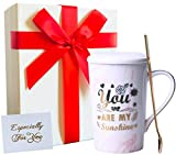 Wowtina Coffee Mugs for Women You Are My Sunshine Ceramic Mug With Lid And Handle Birthday Gifts Ideas For Women Her Wife Girlfriend Funny Pretty 14 Oz Novelty Tea Mug Microwave And Dishwasher Safe