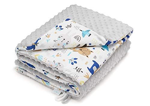 EliMeli Minky Babydecke Kuscheldecke Krabbeldecke | super weichem Minky Dots Polar Fleece | Baumwolle | Füllung | 75x100 hoch Qualität (Grau - Waldtiere)