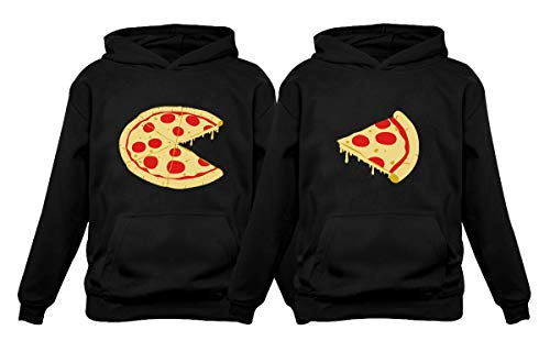 The Missing Piece Pizza & Slice - His and Her Hoodies - Matching Couple Hoodies Men's Black Large / Women Black Large