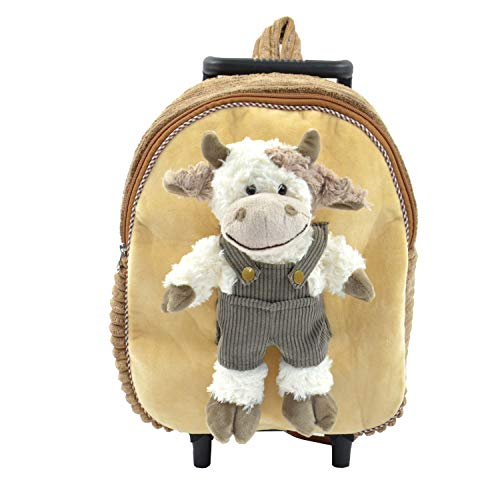 Kögler 85416 - 2 in 1 Tierrucksack & Trolley Kuh, für Kinder, mit Ausziehbarem Griff, ca. 45 x 28 x 20 cm Kinder-Rucksack, 45 cm, Braun/Weiß