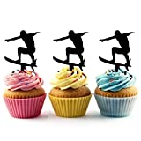 Surfboard Surfer Silhouette Acrylic Cupcake Toppers 12 pcs