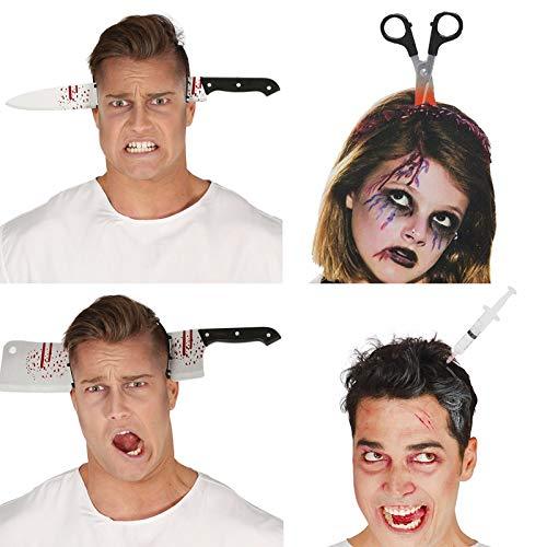 cheap4uk Diadema de Halloween con asusto para el pelo, juguetes para hacer hachas, sierra de uas, escena de sangre falsa para fiestas de Halloween, decoracin de diadema, tijeras, cuchillo o jeringa