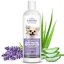 2-in-1 Oatmeal Dog Shampoo and Conditioner – All Natural Relief for Itchy, Dry, Sensitive Skin with Soothing Aloe Vera + Baking Soda + pH balanced. Get Smelly Dogs Coat Fresh and Moisturized