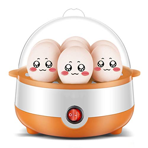 SZH Eierkoker met 7 eieren, maatbeker en stoombak, elektrische eierkoker voor harde gekookte eieren, gepocheerde eieren, omelets, automatische uitschakeling (oranjewit)
