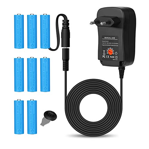 AIEVE AA Batterieadapter und Universal DC Netzteil Adapter Steckernetzteil Zubehör (als Batterieersatz für 2,3,4,6,8 Stück AA Batterien)