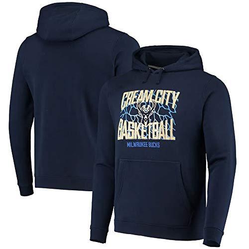 Pullover Hoodies Jersey Unisex Bucks Azul Impreso Hombres NBA Ropa de Manga Larga, S