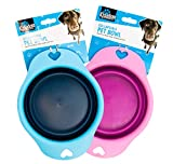 YBG PetCare™ Dog <span class='highlight'>Bowl</span>s Collapsible Portable 2-Pack <span class='highlight'>Travel</span> Water <span class='highlight'>Bowl</span> <span class='highlight'>Silicone</span> BPA Free <span class='highlight'>Food</span> <span class='highlight'>Bowl</span>s Foldable Exp<span class='highlight'>and</span>able Puppy Dog Cat Pet <span class='highlight'>Bowl</span> with Bonus Carabiners (1 Blue/1 Pink, Small Breed)