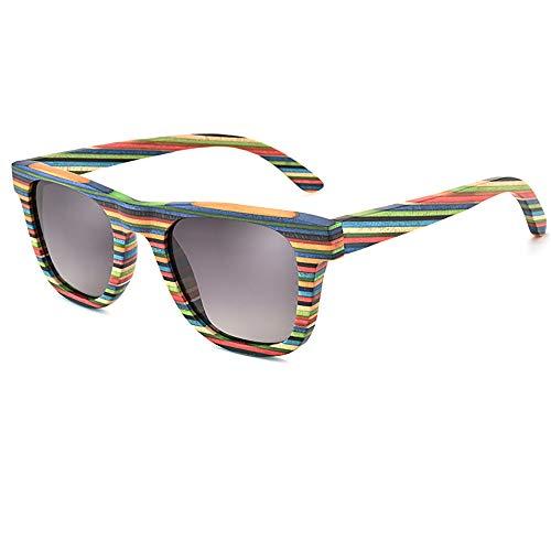 HSRG Bunte polarisierte Sonnenbrille Frauen handgefertigte Holzbrillen für das Angeln Fahren - UV400 Schutz mit Bambus Box,Gray