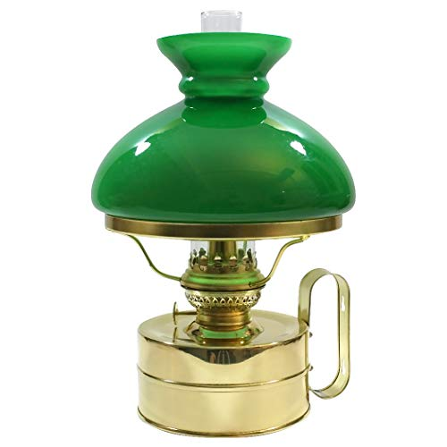 DHR Petroleumlampe Galley Messing poliert, mit grünem Vesta Glasschirm, Höhe 32 cm, 48 Std. Leuchtdauer, als Tischlampe und Wandlampe zu verwenden