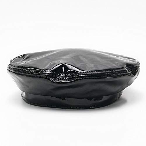 Berretto berretto in vernice donna primavera tinta unita cappello-nero, M (56-58 cm)