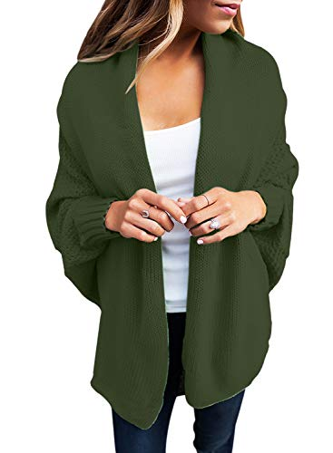 GOSOPIN Damen Strickjacke Frauen Cardigan Loose Winter Lang Strickcardigan, Grün, L