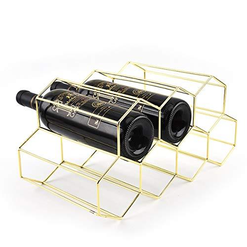 Fantasee Freistehendes Weinregal aus Metall, für 9 Flaschen, Weinflaschenhalter, Tischschrank, modernes Design, leicht, für Weinliebhaber, Gold – 9 Flaschen