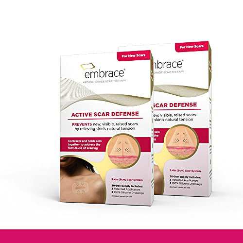 Embrace Active Scar Defense for New Scars, FDA-Cleared Silicone Scar Sheets (Size Medium (2.4 Inch)) 60 Day Supply, Pack of 2