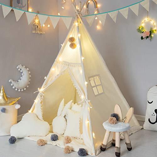 TreeBud Kinder Tipi Zelt mit gepolsterter Matte, Banner, Lichterkette, Wollknäuel, Tragetasche, Beige Baumwolle Leinwand Spielzelt für Kinder mit Quasten und Spitze, Spielhaus für Kinderzimmer Dekor