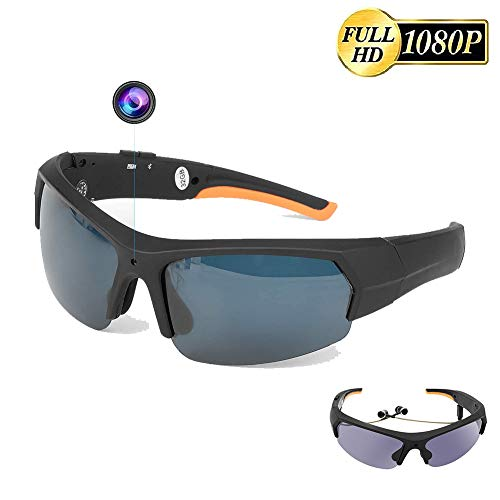 Goodde Cámara de acción con Gafas de Sol Bluetooth, videocámara con Gafas 32G 1080P, grabadora de Video con Auriculares, contestar Llamadas, Escuchar música, Gafas Digitales para Conducir