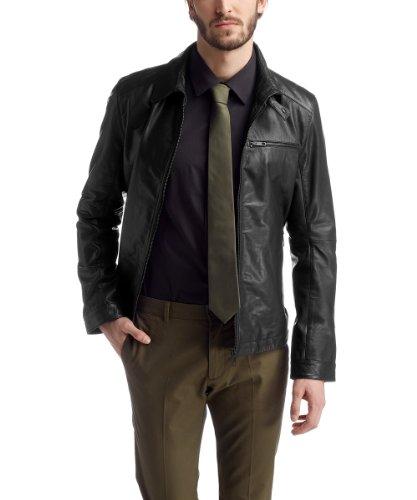 ESPRIT Collection Herren 024EO2G022 Lederjacke im Biker Style Jacke, Schwarz (Black), Large (Herstellergröße: 50)