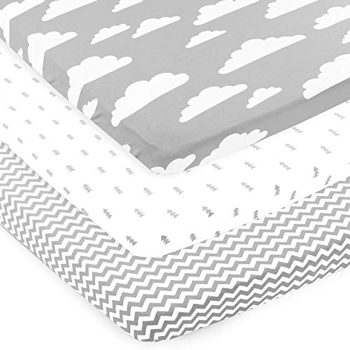 Pack n Play Sheets – Pack and Play Sheets 3 Pack – 100% Super Soft Jersey Knit Cotton Playard Mattress Sheets – Portable Playpen Sheet – Fitted Play Yard Mini Crib Sheets for Boy & Girl (24 x 38 x 5)
