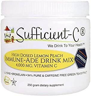 Sufficient-C High Dose Non-GMO Vitamin C - Lemon Peach Immune-Ade Drink Mix 250 Grams - healthy hydration l...