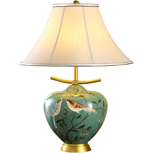 Lampe de table F Lampe de table en résine Style européen Rétro Tissu Salon Chambre Lampe de chevet