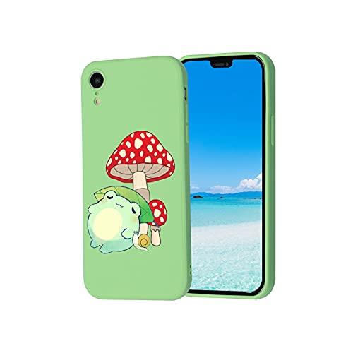 Kompatibel mit iPhone XR, süßer Frosch mit Pilzhut & Schnecke, Handyhülle für iPhone XR, Kawaii iPhone Hülle mit coolem Design für Mädchen, Frauen, Kinder, mit weicher, schlanker Schutzhülle
