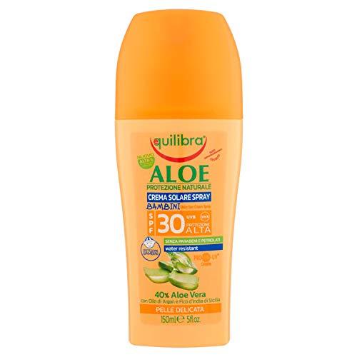 Equilibra Solari, Aloe Crema Solare Spray Bambini Spf 30, Crema Solare per Bambini a Base di Aloe Vera, Latte di Mandorle e Vitamina E, Protegge dalle Scottature, Water Resistant, 150 ml