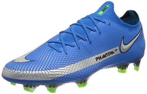 Nike Phantom GT Elite FG, Chaussure de Football Mixte, Photo Blue MTLC Silver Rage Green Black, 43 EU