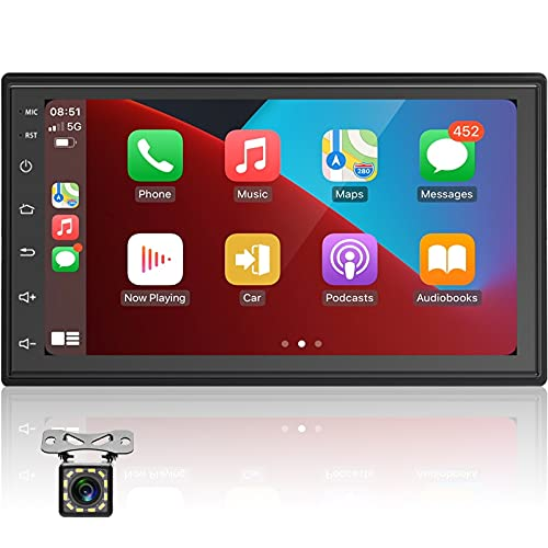 Radio Coche 7 Pulgadas Car Stereo Conexión Android Auto y Carplay, 2 DIN Bluetooth Reproductor MP5,con Mirrorlink, Carga Rápida, Cámara De Visión Trasera IR, Pantalla Táctil, Radio FM,USB Doble