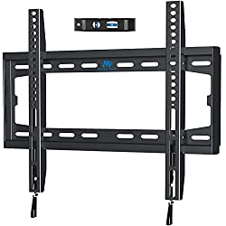"""Design Patent TV Bracket: Fits most 26""""-55"""" flat and curved TVs up to 45.5 KG, compatible VESA/mounting holes from 75x75mm to 400x400mm. Patent NO. 2015 3 0259023.X Free Up Space:Place your TV 28mm close to the wall and save space greatly with a clea..."""