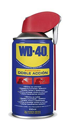WD-40 Producto Multi-Uso Doble Acción Spray 250ml. Lubrica, Afloja, Protege del óxido, Dieléctrico, Limpia metales, plásticos y Desplaza la humedad