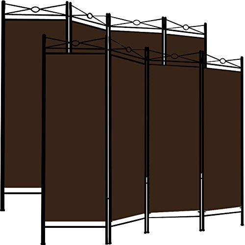 Deuba 2X Paravent Lucca 180x163cm 4 Trennwände flexibel verstellbar Raumteiler Sichtschutz platzsparend & multifunktional braun