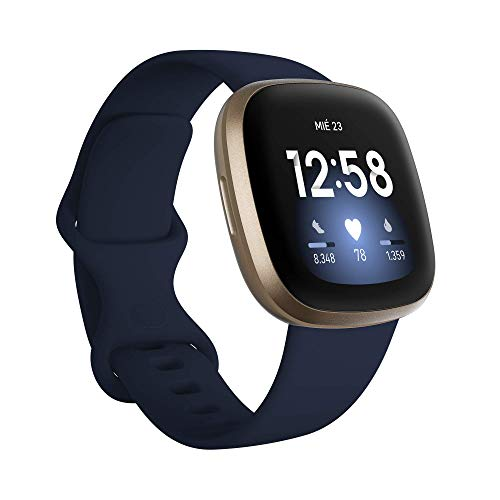 Fitbit Versa 3 - Smartwatch de salud y forma física con GPS integrado, análisis continuo de la frecuencia cardiaca, Alexa integrada y batería de +6 días, Azul Medianoche/Dorado (Reacondicionado)