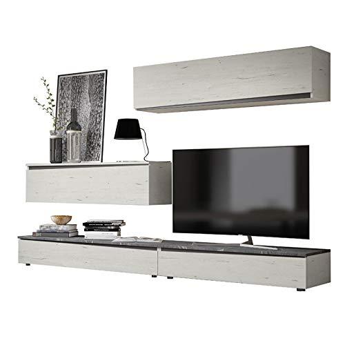 Tousmesmeubles Composition TV Bois Blanchi/Marbre Gris - Camelia - L 270 x l 45 x H 170 - Neuf