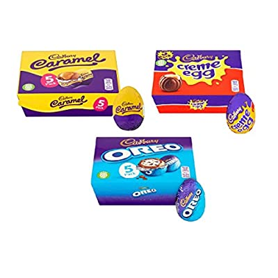 cadbury easter egg gift pack, 5 oreo, 5 creme egg & 5 caramel (15 eggs in total) Cadbury Easter Egg Gift Pack, 5 Oreo, 5 Creme Egg & 5 Caramel (15 Eggs in Total) 41OBKG9ZlBL